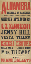Poster advertising the Whitsun celebrations at the Alhambra Theatre of Varieties